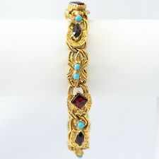 Vintage Florenza Gold Tone Multi-Stone Safety Clasp Bracelet
