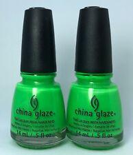 China Glaze Nail Polish I'M WITH THE LIFEGUARD 1089 Bright Neon Green Shimmer