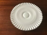 """Fenton Silver Crest Low Footed Cake Plate, Milk Glass Cake Plate Dish, 12"""" MINT"""