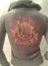 Juicy Couture XS Velour Hoodie Tracksuit Jacket Gray Design on back Jacket only
