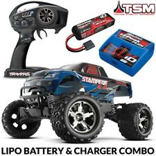 Traxxas Stampede 4X4 VXL Brushless RTR Truck BLUE w/TSM 3S LIPO & CHARGER COMBO