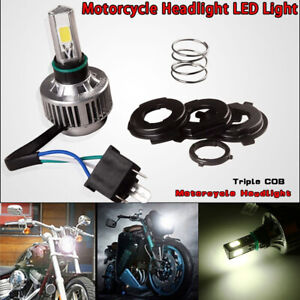 Motorcycle White LED Hi/Lo Beam Headlight Driving Light Waterproof with Sockets