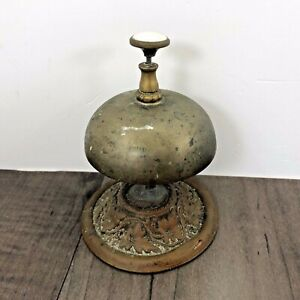 AUTHENTIC ANTIQUE HOTEL COUNTER TOP SERVICE BRASS DESK CALL BELL 1870'S? WORKING