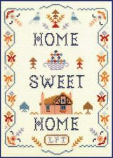Home Sweet Home Sampler - Cross Stitch Kit on 14 ivory aida with colour chart