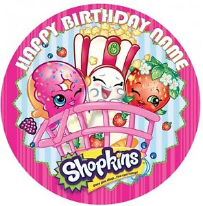 Shopkins Personalised Edible Kids Party Cake Decoration Topper 19cm Round Image