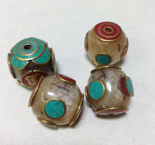Tibetan Pearlized Yellow Resin Crackle Bead Turquoise Coral Etched Brass