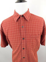 ORVIS Mens Button Front Short Sleeve Casual Shirt Dark Red size XL Cotton