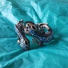 Crystal Blue Gunmetal Silver Lizard Cuff Bracelet Animal Jewellery