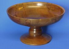 More details for vintage treen carved turned wooden yew wood pedestal bowl signed, w:19cm [22776]