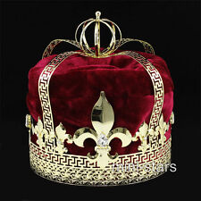 Men's Red Velvet Imperial Medieval Fleur De Lis Pageant King Crown T1728