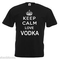 Keep Calm Love Vodka Adults Mens T Shirt 12 Colours Size S - 3XL
