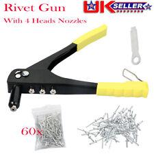 Heavy Duty Pop Rivet Gun Hand Riveter Tool 60 Rivets 4 Head Nozzles S105