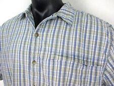 Bimini Bay Vented Blue Plaid Short Sleeve Shirt Men's size XXL Shell 100% Cotton
