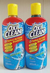 Lot of 2 Oxiclean Triple Action Booster Crystal Clear Glasses Dishes 7oz NEW