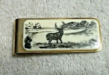 Money Clip - Gold Tone with Deer and Scenery