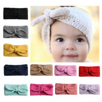 AU_ BU_ KE_ Cute Kids Girl Baby Toddler Crochet Bow Wide Headband Hair Band Wint