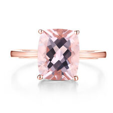 10x8mm Cushion 2.9ct Morganite Gemstone Simple Ring Solid 14K Rose Gold Jewelry