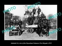 OLD LARGE HISTORIC PHOTO OF ADELAIDE SA, THE PAYNEHAM FIRE BIGADE c1915 1
