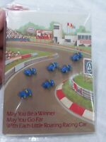 Vintage Avon 1983 roaring racing 6 car Buttons w/card..retro/childrens..new