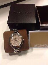 BRAND NEW MICHAEL KORS Slim Runway Silver Stainless Steel Pink Pave Watch MK3357