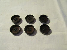 6 16mm 4 HOLE 4mm DEEP BUTTONS IN DARK BROWN.