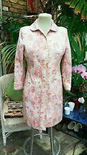 Retro Vintage 60s Coat size10 Pink flower pattern Peter Pan collar sheen finish