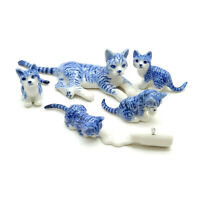 Cat Ceramic Figurine Animal Family With Milk Bottle Kitten Statue - CCK156