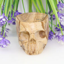 """3.14""""WINE GLASS PICTURE STONE Carved Crystal Skull,Crystal Healing Reality TC84"""
