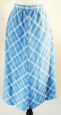 Vintage Aqua Blue and Cream Diamond Pattern Woven A-Line Midi Skirt Size Large