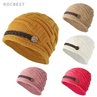Women's Winter Knit Beanie Cap Warm Slouchy Hat Button Strap Cap