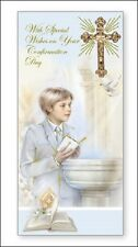 """Confirmation Day Boxed Greetings Card - Boy, Bible, Dove & Gold Cross 8.75"""" x 4"""""""