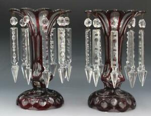 Pair Antique Bohemian Ruby Red Cut to Clear Art Glass Lusters w/ Prisms