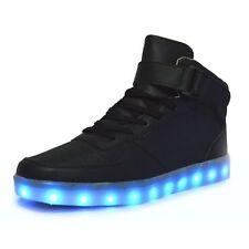 Unisex Men Women LED Light Up Shoes Luminous USB Trainer Sneaker High Top Shoes