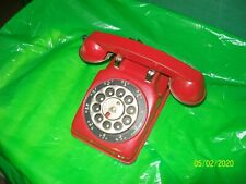 Antique Metal Toy Phone w/ Bell Vintage Rotary Telephone Kid Children's RED !!!