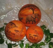 3 Set Deko afrikanische Leuchtkugeln Handgefertigt Afrika Giraffen Elefanten 10