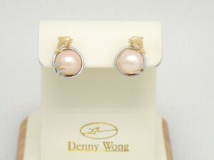 Authentic Denny Wong 18k Gold, Platinum Sterling, Diamond, FW Pearl Earrings