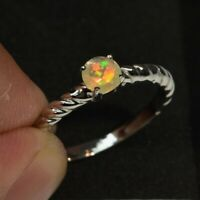 0.25 Carat Natural Play-of-Color Crystal Opal Ring in 925 Sterling Silver