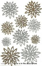 GOLD & SILVER CHRYSANTHEMUM Martha Stewart Glitter Stickers Flowers Floral