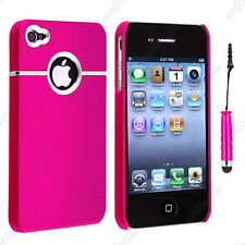 Housse Coque Rigide Silver-Line chromé Rose Apple iPhone 4S 4 + Mini Stylet