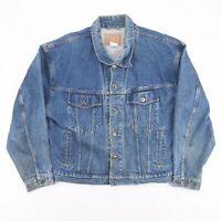 Vintage Blue Casual Worker Trucker Denim Grunge Jacket Size Men's Large