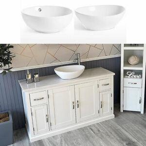 Bathroom Single Vanity Off White Painted Cabinet White Marble Ceramic Basin 402P