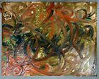 ABSTRACT OIL PAINTING WITH GLITTERS ON CANVAS