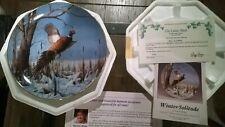 "Vintage Mint David Maass ""Winter Solitude"" Plate 1989 Ring necked Pheasant. Coa"