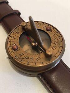 Sundial Compass Brass Wrist Watch Leather Strap Navitron Genuine Steampunk
