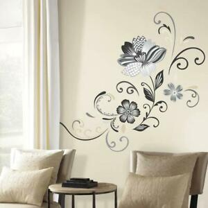 Giant Wall Decal 5 in. x 19 in. Black and White Flower Scroll (22-Piece)