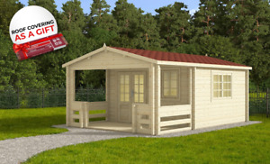 LAST ONE IN STOCK! Log cabin MANCHESTER 4 x 5,85 m + GREY SHINGLES AS A GIFT