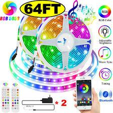 65.6 ft Rgb 5050 Bluetooth Led Strip Lights Smd 24 Key Remote 12V Dc Power Kit