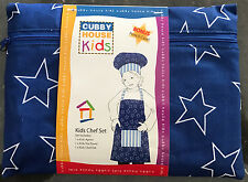 Blue Stars & Stripes Boys Kids Apron Set | Chef hat | Pencil Case | Tea Towel