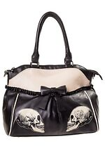 Women's Gothic Skull Rose Rockabilly Bow Parallel Universe Bag By Banned Apparel