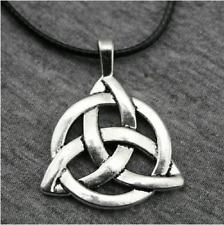 Silvertone Triquetra Necklace - Celtic Irish Trinity Knot Pendant charmed goth